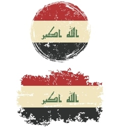 Iraqi round and square grunge flags vector
