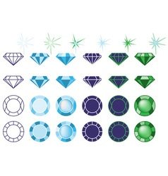 Precious stones on white vector