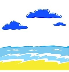 sea waves and cumulus clouds over water vector image