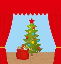 Christmas scene and red curtain holiday scene vector