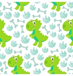 Green dinosaur rex seamless pattern vector