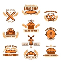 Bread bakery and pastries signs or icons vector