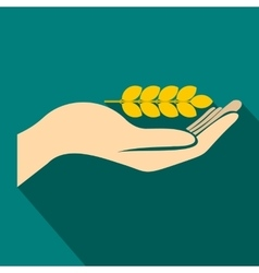 Hand holding wheat ear icon flat style vector
