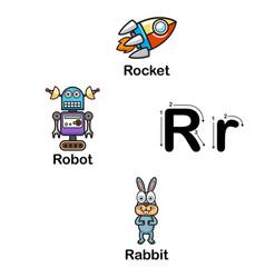 alphabet letter r-rocket robot rabbit vector image vector image