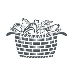 basket with sausages vector image vector image