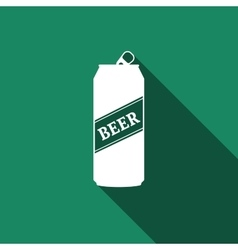 Beer Can Icon with long shadow vector image