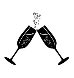 Champagne celebratory glasses vector