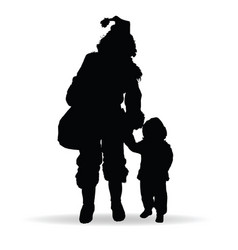 Child silhouette with woman in black vector