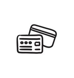 Credit card sketch icon vector