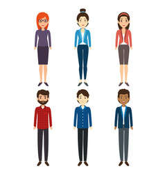 diversity people icon set vector image
