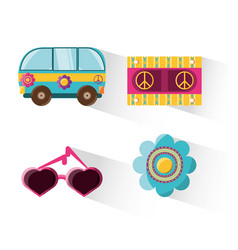 Flat set icon hippie concept vector