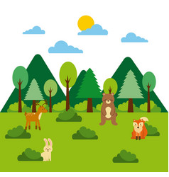 forest and animals wildlife mountains pine tree vector image