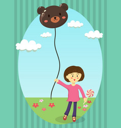 Girl holding bear balloon vector