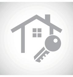 Grey house key icon vector