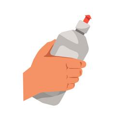 hand holding dish washing liquid flat vector image vector image