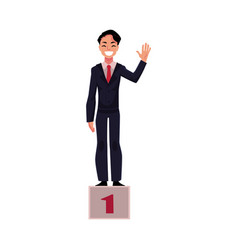 Happy businessman standing on pedestal number one vector
