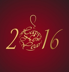 Happy new year 2016 gold lettersn on a rad vector