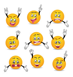 Joyful and sad smileys with hands gesture set vector