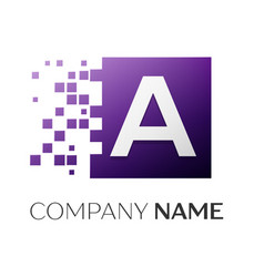 letter a logo symbol in the colorful square with vector image