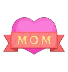 Mothers day pink heart with red ribbon icon vector