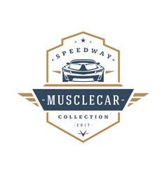 Muscle car logo template design element vector