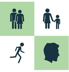 People icons set collection of running male vector