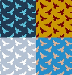 Set of flying pigeons seamless pattern Flock of vector image
