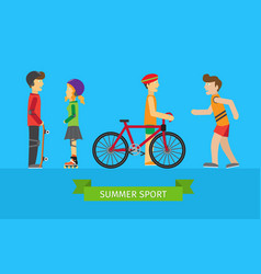 Summer sport children on the playground vector