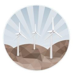 Three wind turbines on rocks vector