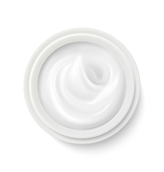 White cream in package container top view vector image