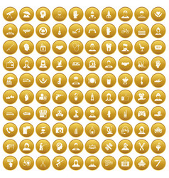 100 human resources icons set gold vector