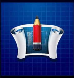 Roll of blue paper with pencil and drawing vector