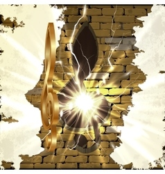 Golden treble clef with a cut in the brick wall vector