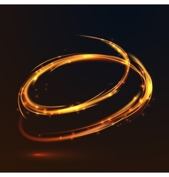 Glowing fire gold circle light effect on black vector