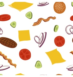 Burgers and ingredients for cheeseburger seamless vector