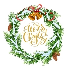 Christmas wreath of fir branches merry christmas vector