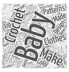 Crochet baby patterns word cloud concept vector