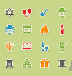 Hanukkah icon set vector