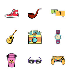 Leisure icons set cartoon style vector