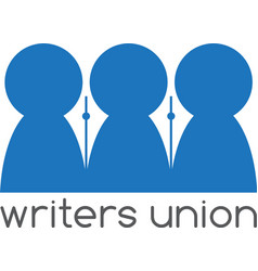 Writers union negative space concept design vector