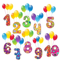 Numbers with balloons vector