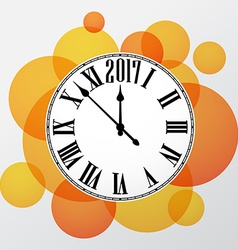 2017 new year orange clock background vector