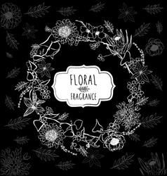 Floral black background vector