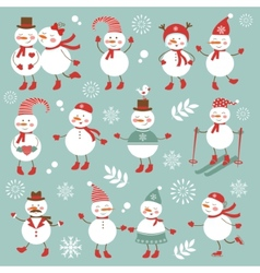 Cute snowmen collection vector