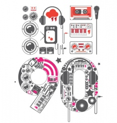 Nineties groove icon set vector