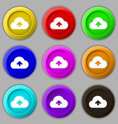 Upload from cloud icon sign symbol on nine round vector image
