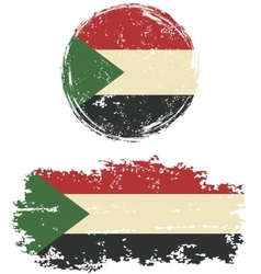 Sudanese round and square grunge flags vector