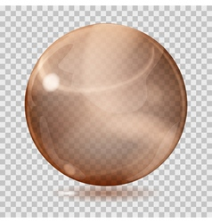 Brown transparent glass sphere vector
