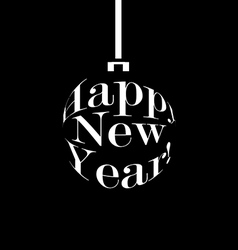 Happy new year black and white christmas ball vector