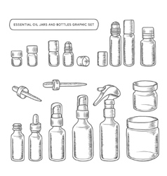 Essential oil jars and bottles hand drawn graphic vector image